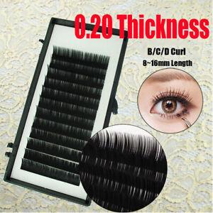 Details about 12 Lines Volume B,C,D Curl Black Individual Mink Lash False  Eyelashes Extension