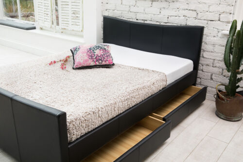 MEMORY MATTRESS 4 DRAWERS LEATHER STORAGE SLEIGH BED DOUBLE OR KING SIZE BEDS