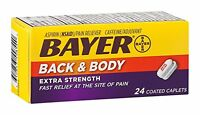 5 Pack - Bayer Back & Body Extra Strength 24 Coated Caplets Each
