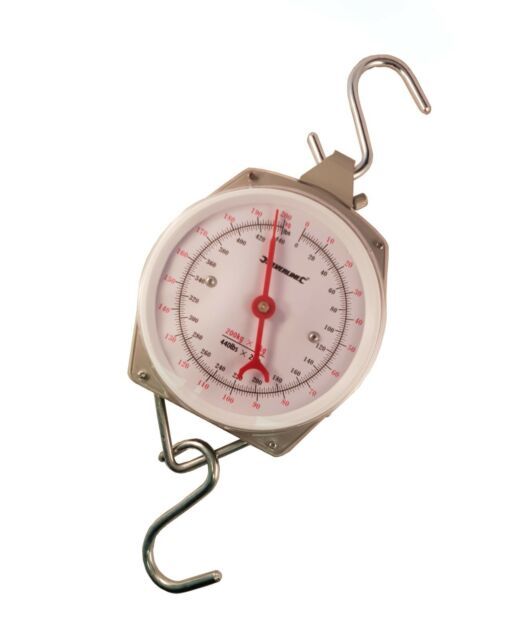 Silverline 251087 Heavy Duty Spring Hanging Scales 200kg 440lbs