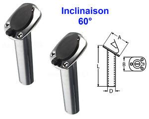 Porte Canne Angle 60° à Encastrer ( Lot de 2 ) inox A2 avec Protection Bouchon