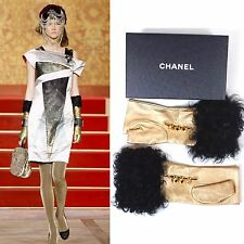 CHANEL 09A Moscow Paris Gold Fur Leather Fingerless Gloves Size 7.5