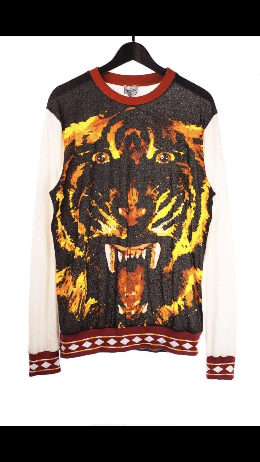 RARE Vivienne Westwood Man Volto Tigre Maglione small taglia small Maglione ma oversize Fit NUOVO 01740a