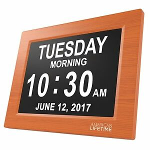 American-Lifetime-Large-Impaired-Vision-Digital-Day-Clock-5-Alarm-options-Wood