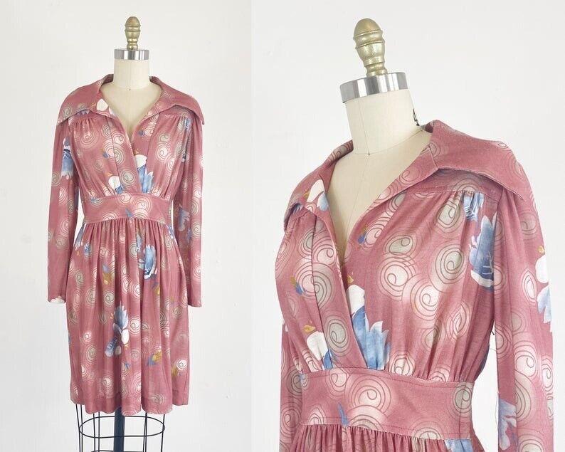1970s Floral Dress - 1970s Mini Dress - Floral Mi… - image 1