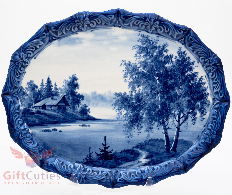 Gzhel décoratif en porcelaine plaque plateau peint à la main souvenir village nature River
