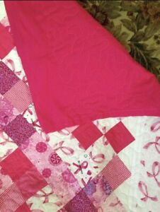 Details About Handmade Breast Cancer Awareness Quilt Cotton Fabric New Throw Blanket