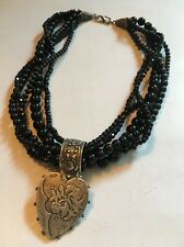 """Black Glass And Sterling Silver Necklace, Multi Strand, 18"""" Long, Great Cond."""