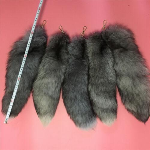 Genuine Natural Silver Blue Fox Tail Keychain Fur Tassel Bag Tag Charm 5pcs