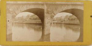 Francia Parigi Pont Royal La Senna, Foto Stereo Vintage Albumina Ca 1865