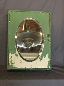 Antique Wood Surface Mount Medicine Cabinet Cupboard Oval Beveled