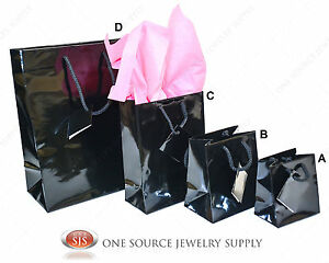 Gift Bags Black Gloss Tote Party Supplies Paper Gift Bags Holiday Bags Wedding