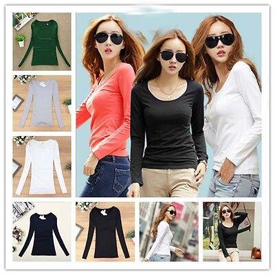 Popular Women Long Sleeve Round Neck Plain Basic Ladies Stretch T-Shirt Top New!