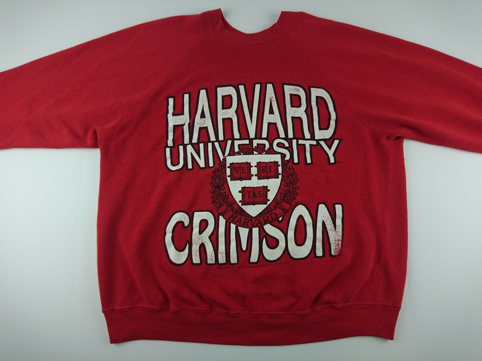 Vintage Harvard University Crimson Large L Tultex ROT Crew Pullover Sweater F2