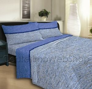 Lenzuola Matrimoniali Maxi Flanella.Completo Lenzuola Matrimoniale Maxi Flanella Righe Riga Azzurro