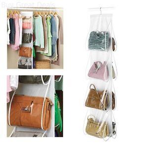 Details About Hanging Hook Handbag 8 Pocket Holder Purse Bag Rack Storage Closet Organizer