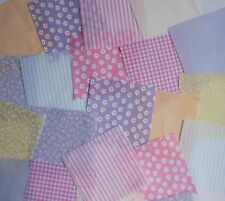 "50 x 4"" Fabric Remnant Bundle patchwork squares~Pastel Collection~Craft"
