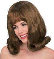 Auburn Brown Bouffant 60's Flip Wig With Bangs
