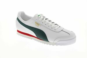 Puma-Roma-Classic-Vtg-36956903-Mens-White-Leather-Lace-Up-Low-Top-Sneakers-Shoes