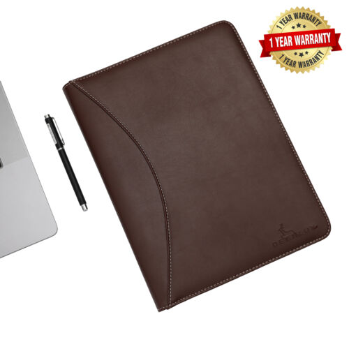 New DEERLUX Brown Leather Business Padfolio Portfolio with Notepad QI003309