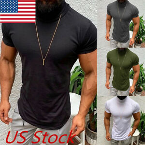 Mens-Casual-Short-Sleeve-Shirts-Muscle-Solid-Slim-Fit-Tee-Tops-Blouse-T-Shirt-US