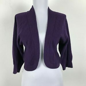 Banana-Republic-Luxury-Cashmere-Blend-Sweater-Bolero-Cardigan-Size-XS-Purple