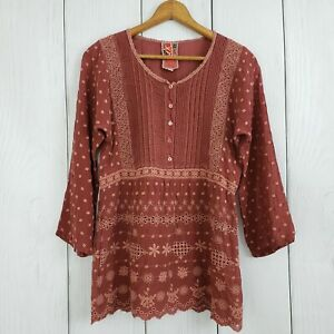 JOHNNY-WAS-sz-XS-Women-039-s-Brown-Floral-Embroidered-Boho-Peasant-Blouse-3-4-Top