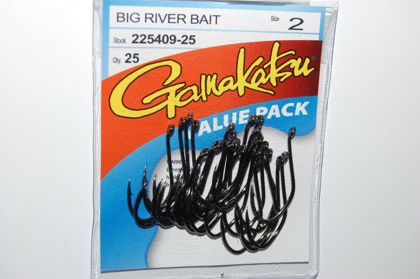 Gamakatsu Big River Bait NS BLACK Hooks Value Pack 225412-25 25 pack size 2//0