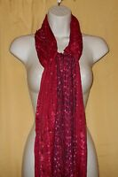 Big Buddha Feather Weight Red Black Fringed Cotton Rayon Neck Scarf Wrap O/s $48
