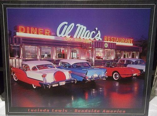 """AL MAC/'S DINER//CLASSIC AMERICAN CARS LUCINDA LEWIS ,METAL WALL SIGN 16/""""X 12/"""""""