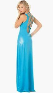 buy popular e58e3 0b8dc Dettagli su Originale 4083 Sexy Blu Turchese Bagnato Abito da Sera  Discoteca lungo S M