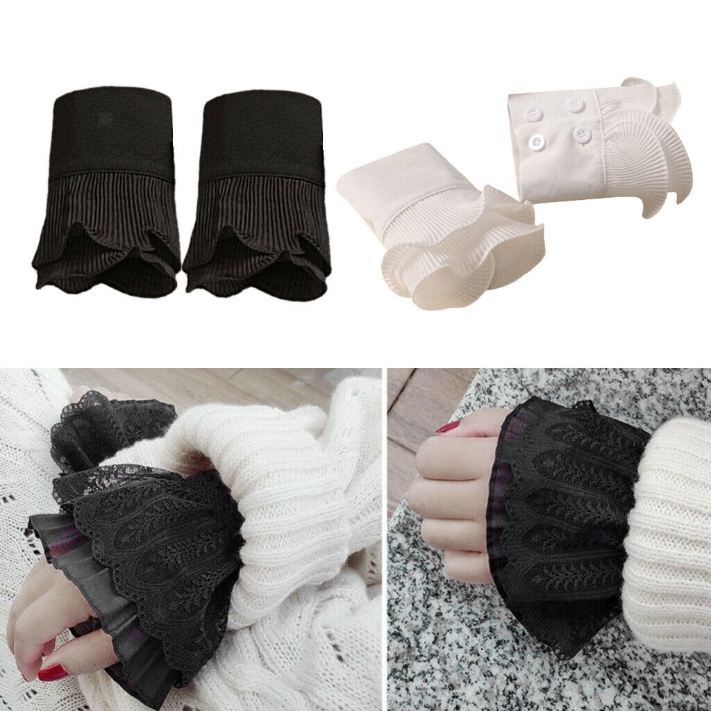 2Pairs Girls Layered Lace Cuffs Detachable False Sleeves Clothing Accessory