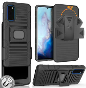 Black-Rugged-Grip-Case-with-Stand-and-Belt-Clip-Holster-for-Samsung-Galaxy-S20