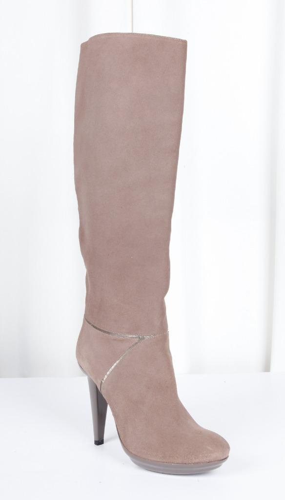 BOTTEGA VENETA femmes Taupe Suede Knee-High High-Heel bottes 8.5-38.5 NEW