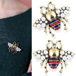 304d29484e7 Image is loading Vintage-Bee-Brooch-Pin-Rhinestone-Crystal-Coat-Collar-