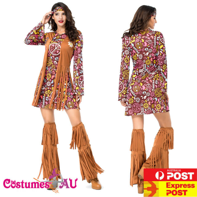 Womens Ladies Groovy Hippie Hippy Chick  Fancy Dress Costume 60s 70s Retro Flare