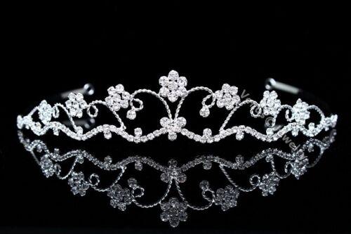 Bridal Flower Rhinestone Crystal Prom Party Wedding Crown Tiara 8464