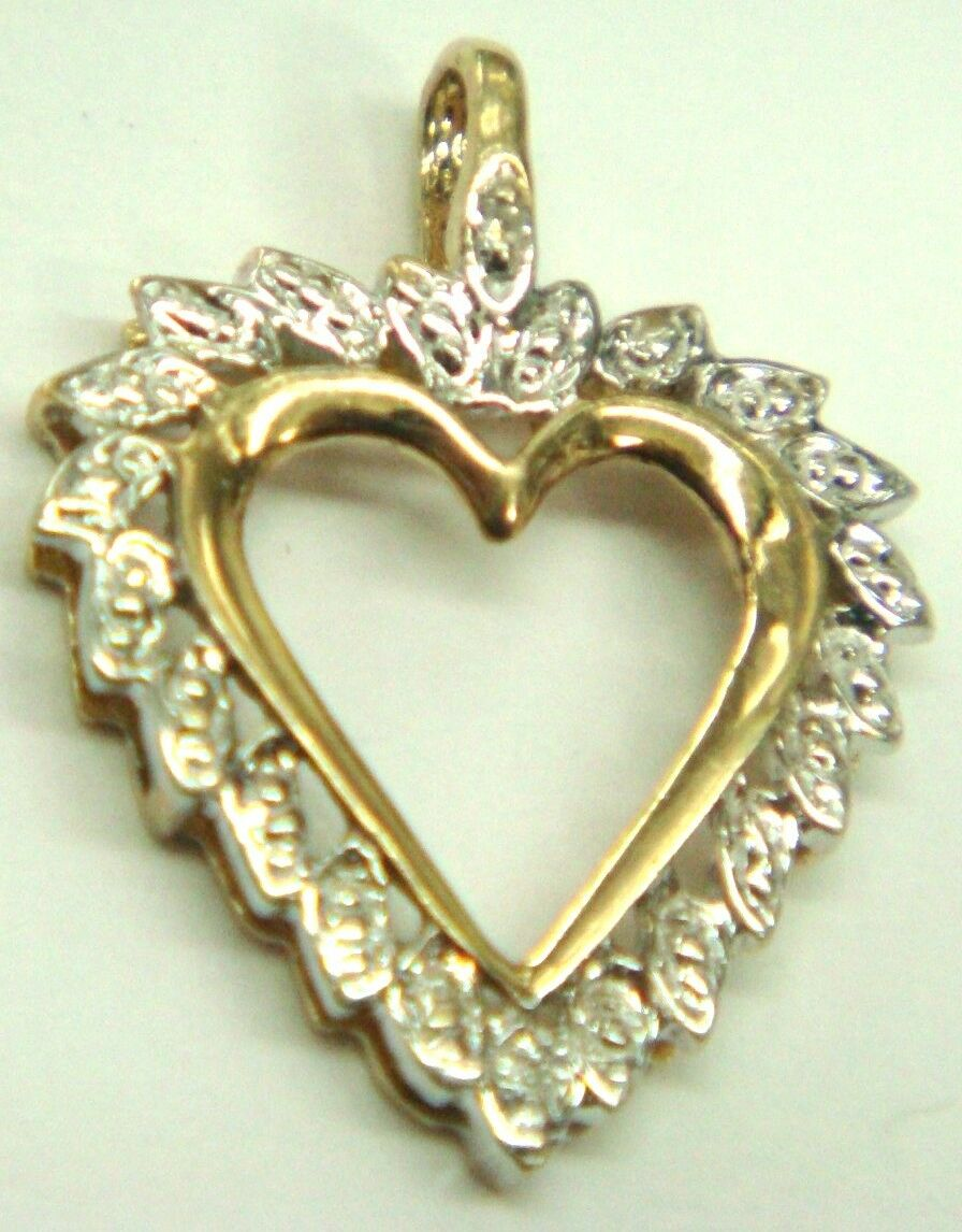 10K Solid  Yellow White gold  HARD  Charm Pendant Jewelry