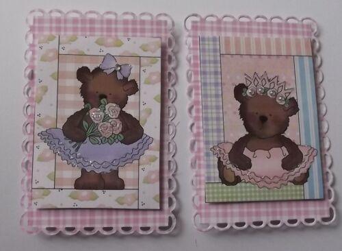 Pack 2 ballerine bears set 1 topper embellissement pour cartes ou artisanat