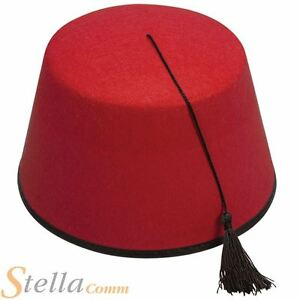 bc5e484ac77a5 Red Fez Hat Adult Tommy Cooper Turkish Fancy Dress Costume Accessory ...