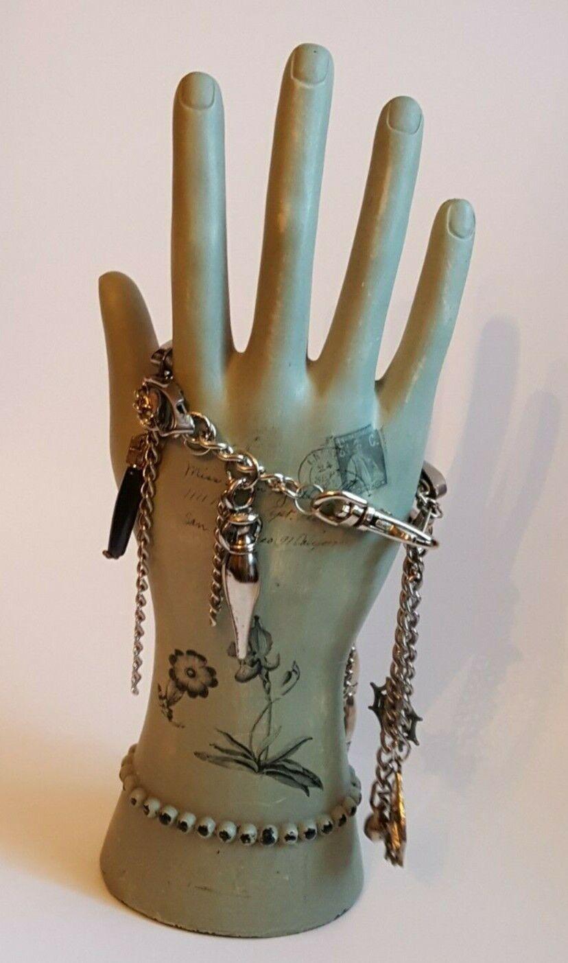 Silver Metal Charm Bracelet Chains Spider Scorpion Spiderweb Goth Costme 7