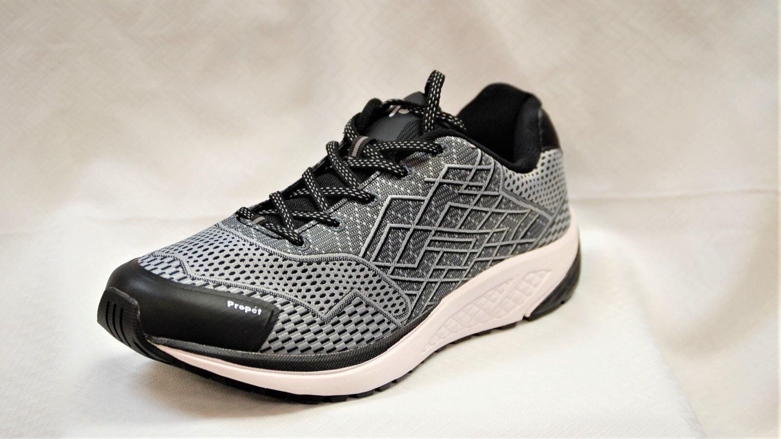 Propet One MAA102 Negro Plateado Para Hombre Zapato Para Caminar tamaño 12 X (3E) aprobado diabética