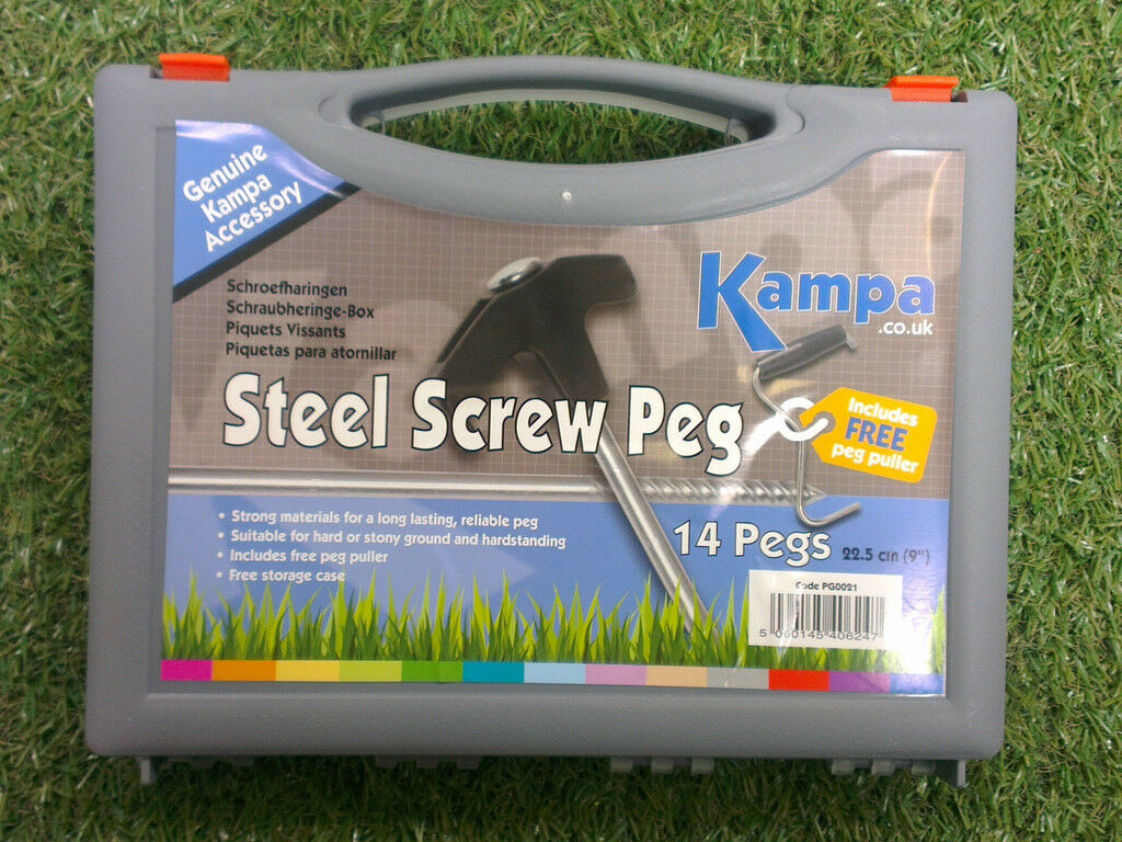 14 STEEL SCREW TENT PEGS & PULLER SET  in carry case box with extractor 9  22.5cm  be in great demand