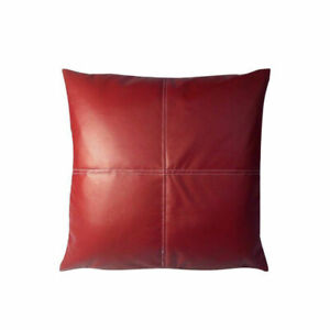 Pillow Leather Cover Cushion Cowhide Patchwork U Decor Accent Hair Couch Grain 8