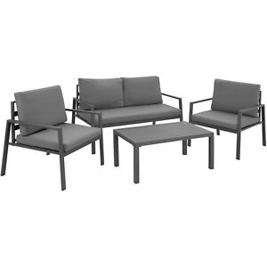 Detalles De Muebles De Terraza Y Jardín Sofá Sillones Mesa Mobiliario Aluminio Exterior Gris