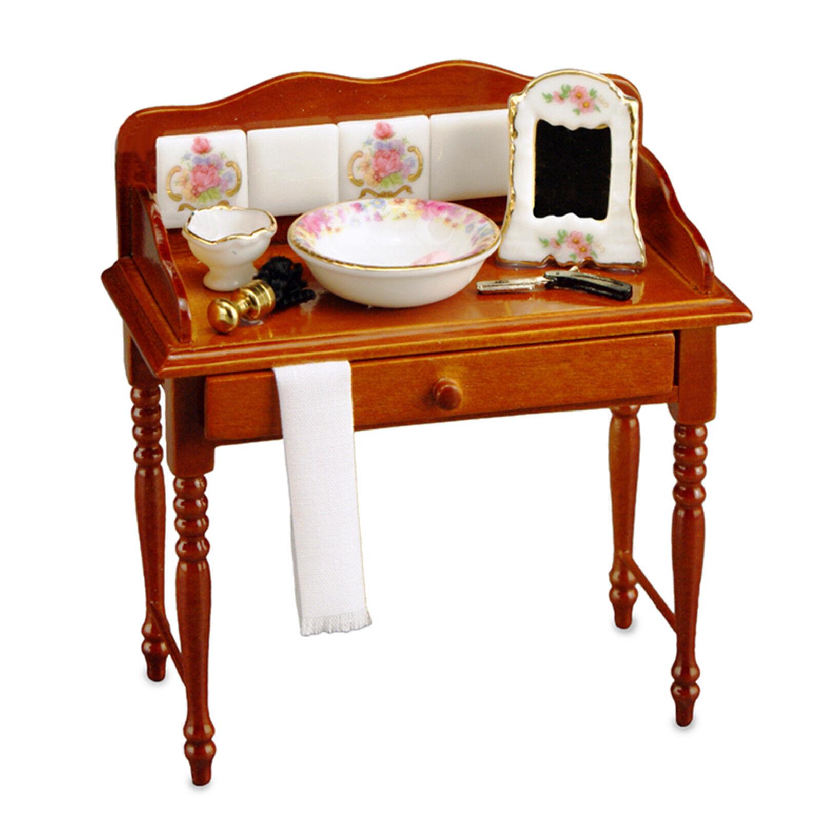 Dollhouse Miniatures Reutter Dresden Rose Shaving Table Set