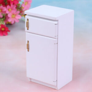 1-12-Dollhouse-wooden-white-refrigerator-fridge-freezer-furniture-miniature-t-QA