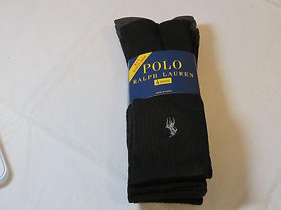 Men's Polo Ralph Lauren 4 pack Crew socks size 10-13 ZP113818PK casual black NEW