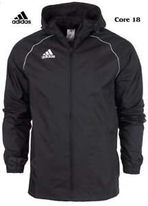Junior-Adidas-Boys-Rain-Jacket-Waterproof-Coat-Top-Hoodie-Wind-Stopper-Black