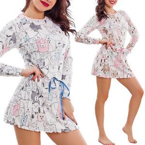 Nachthemd-frau-lingerie-fantasie-kawaii-schlafanzug-welpen-baumwolle-neu-7585